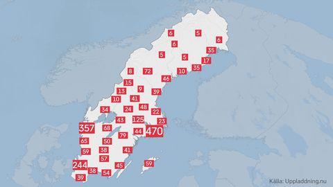 Antal laddstationer runtom i Sverige.