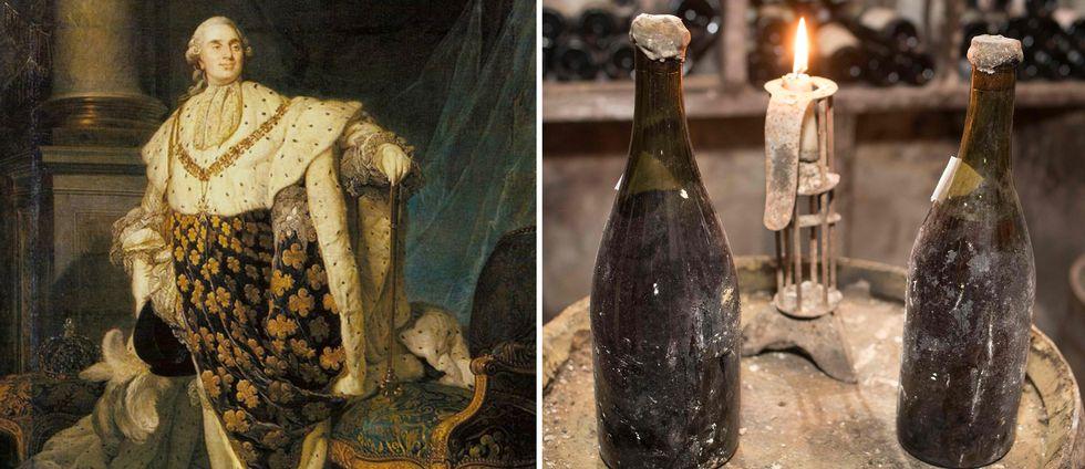 """Två flaskor """"gult vin"""" från 1774 (till höger) med anor från Ludvig XVI:s tid"""