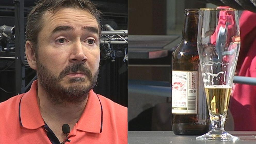 Man i skägg och ett glas med öl bredvid varandra. Bilden är ett montage.