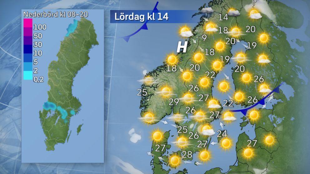I dag: Det blir ännu en dag med högsommarvärme i söder men lite svalare i Norrland. Det kan bildas lokala åskskurar i delar av Värmland och Västmanland, Närke och Södermanland men det är fortfarande osäkert i vilken omfattning det blir och exakt var de hamnar. Kartan till vänster visar trolig nederbördsmängder under dagen.