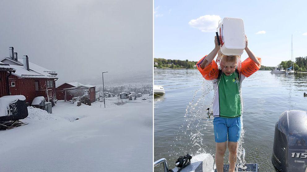 Snö i Katterjåkk och en badande pojke i Stockholms skärgård.