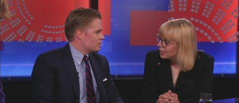 Moderaternas strategichef Per Nilsson och Socialdemokraternas kommunikationschef Helena Salomonson.