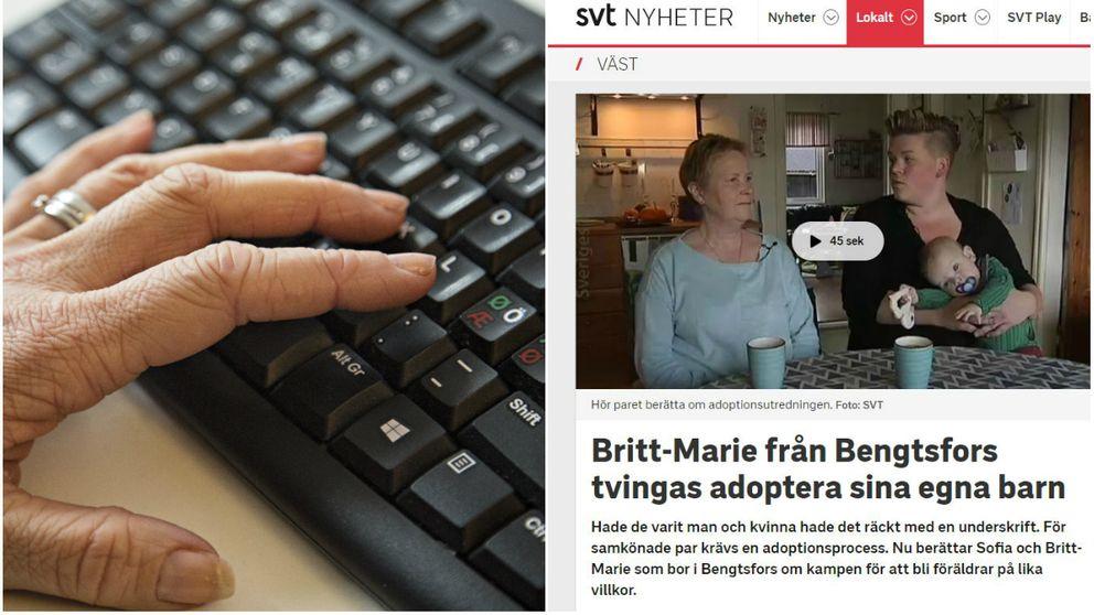 En bild på ett tangentbord och på artikeln om Britt-Marie och Sofia