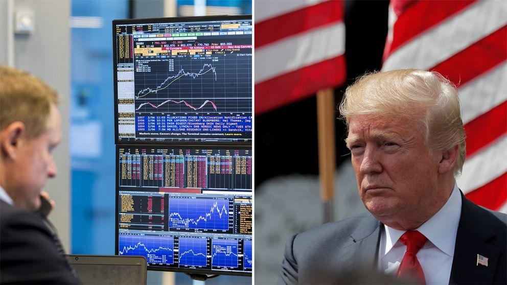 En bild på börssiffror och Donald Trump.