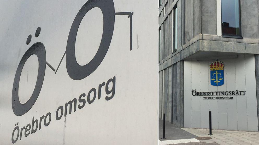 En bild på företaget Örebro omsorgs logga och örebro tingsrätt i ett montage.