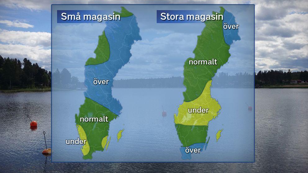 Grundvattennivåer i små och stora magasin under maj 2018 jämfört med det normala. Foto: SVT / Källa: SGU