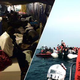 Flyktingar sover på däck. Till höger flyktingar på mindre båt och flytvästar.