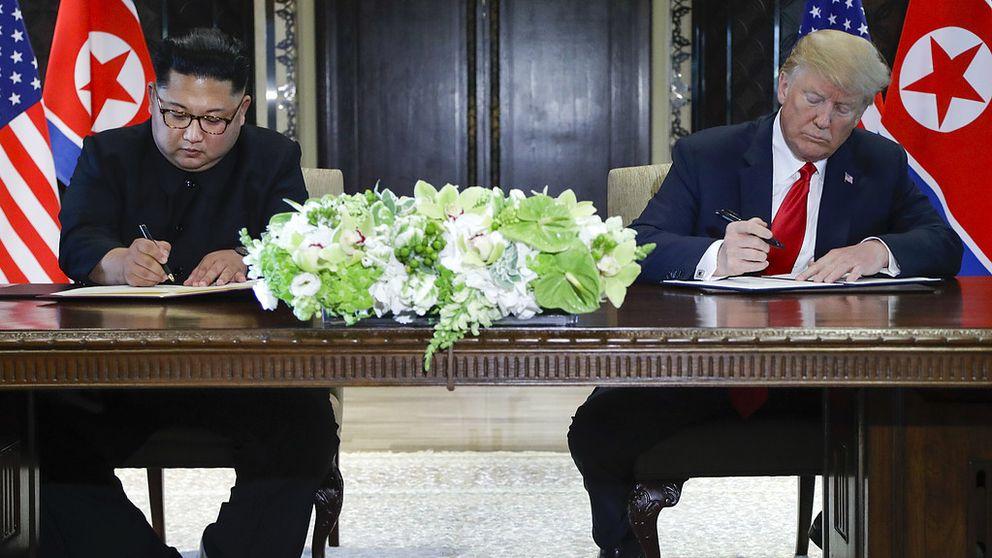 Här skriver Trump och Kim under historiskt dokument