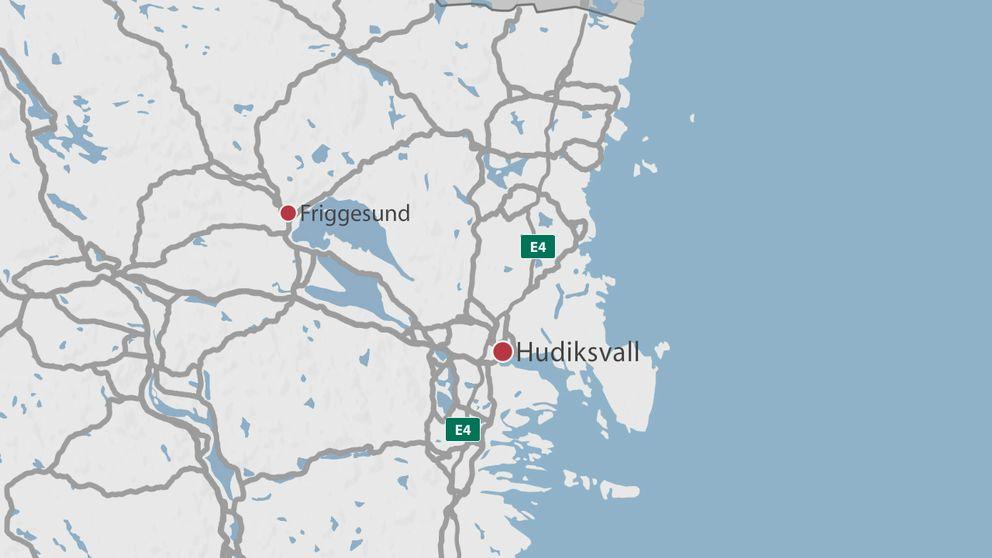 En karta över delar av Gävleborg där Hudiksvall och Friggesund är markerade.