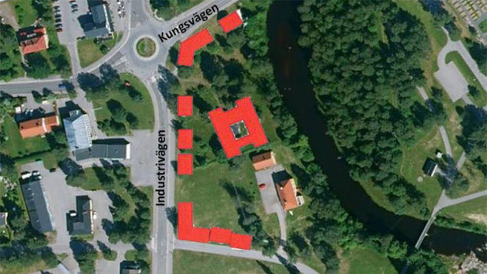 Hörnefors, området ligger längs Kungsvägen och Industrivägen.