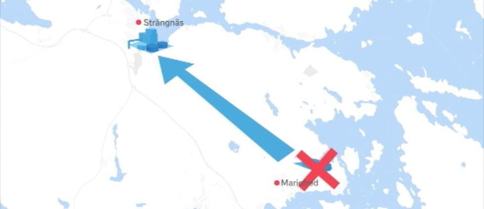 Karta med en pil från avloppsreningsverket i Mariefred till det i Strängnäs