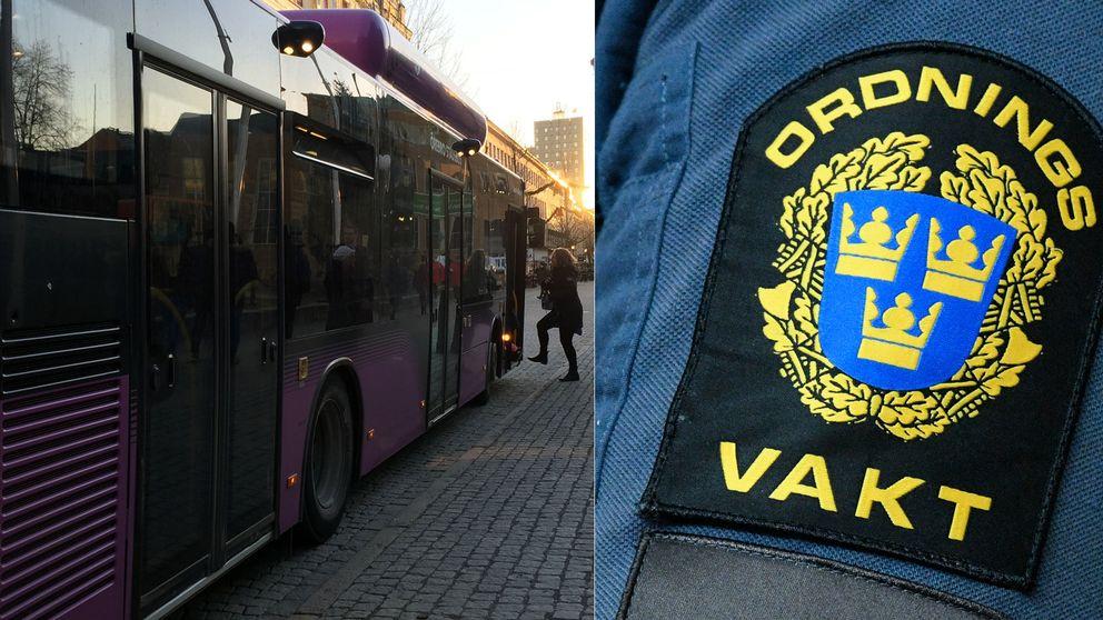 """En av Länstrafikens bussar och en logga där det står """"ordningsvakt"""" i ett montage."""