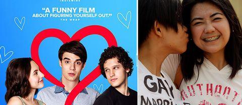 Omslaget till filmen Alex Strangelove / en kvinna som pussar en annan kvinna