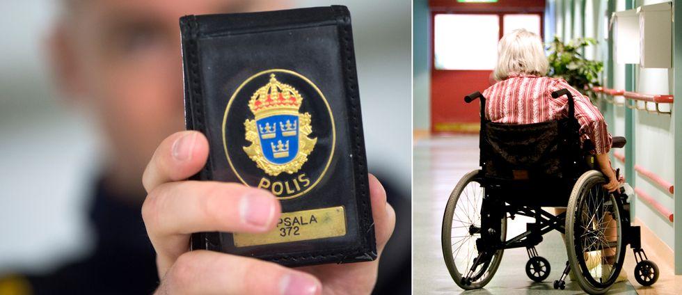 kollage närbild på polisbricka, samt åldring i rullstol i en korridor