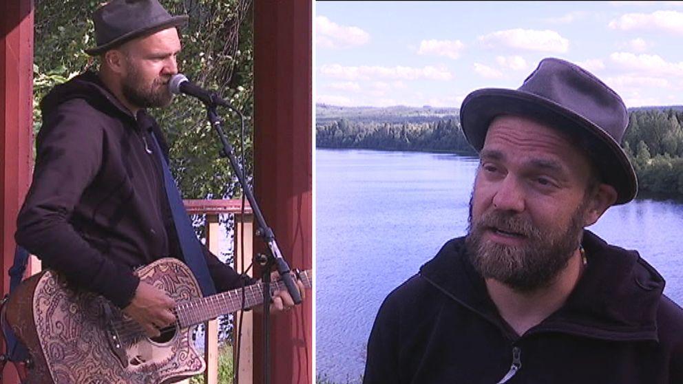 två bilder på man som sjunger respektive pratar