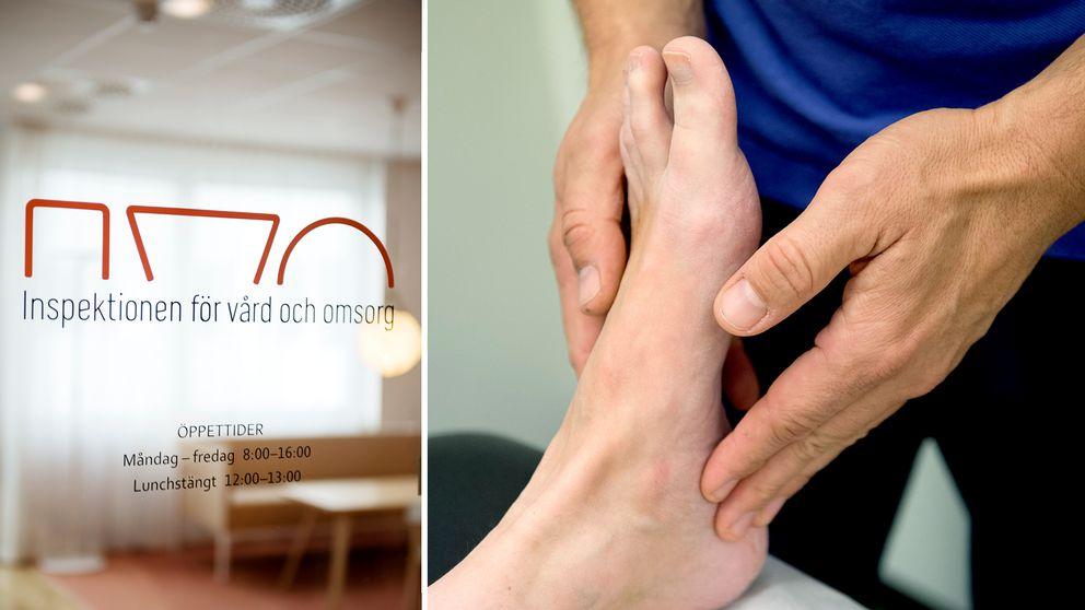 Inspektionen för vård och omsorgs kontor och en fot under behandling.