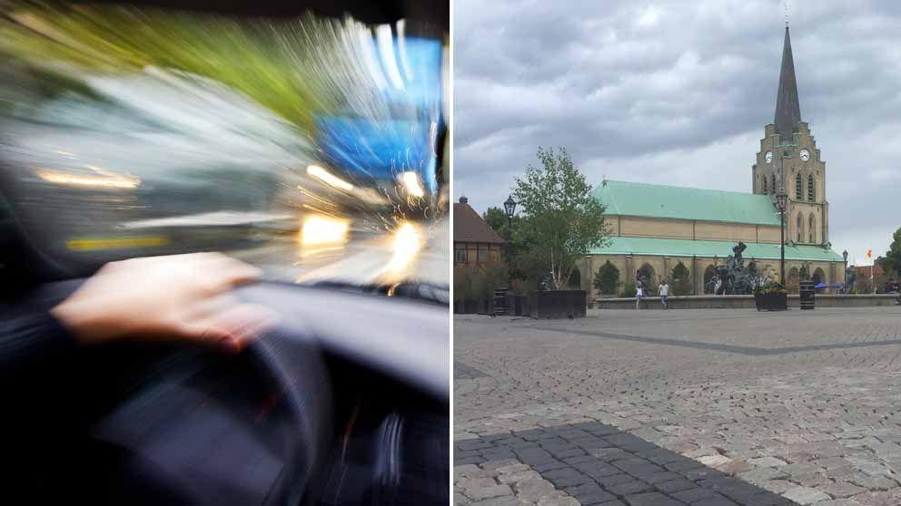 Vansinnesfärd och Stora Torg i Halmstad.