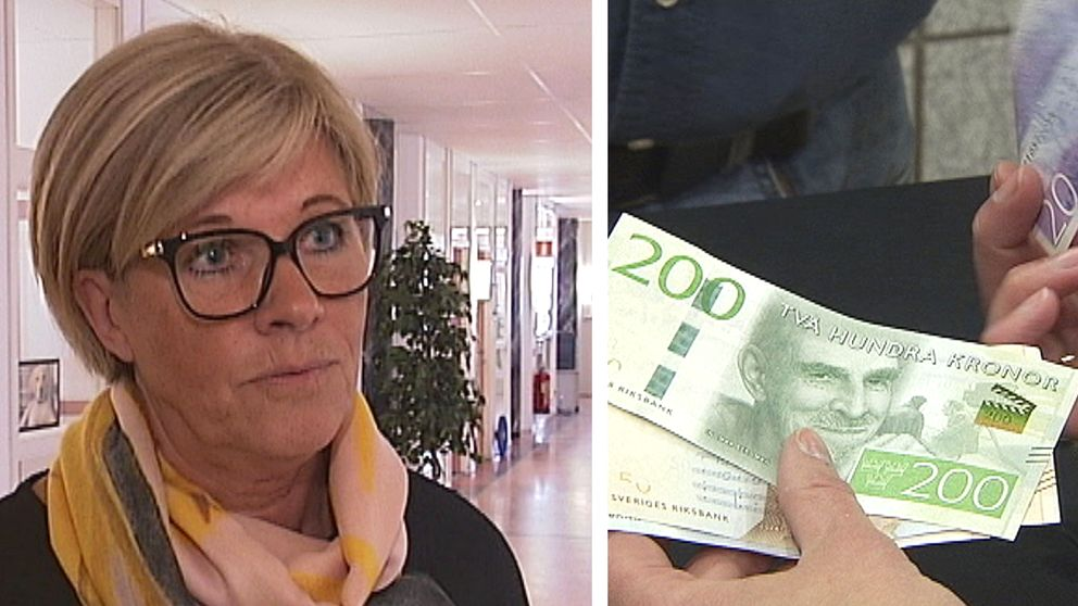 porträttbild på medelålders kvinna, och närbild på händer som räknar några sedlar