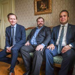 Sverigedemokraterna i Gävle, från vänster Roger Hedlund, Richard Carlsson och och Mattias Eriksson Falk.
