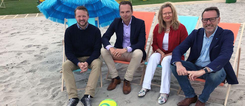 Från vänster: Marcus Friberg (MP), Peter Danielsson (M), Maria Winberg Nordström (L) och Lars Thunberg (KD).