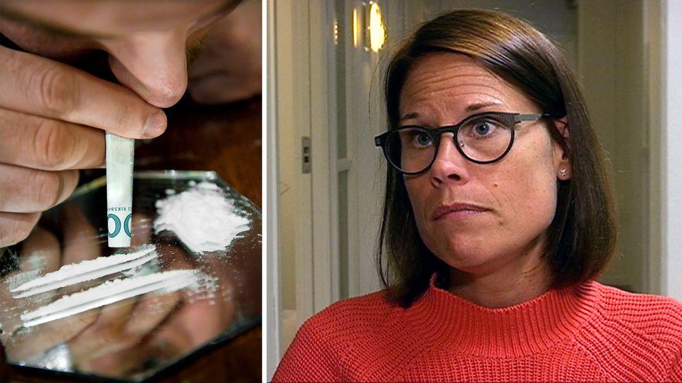 En sträng med kokain upplagd på en spegel och en person som har en hoprullad sedel mot näsan.