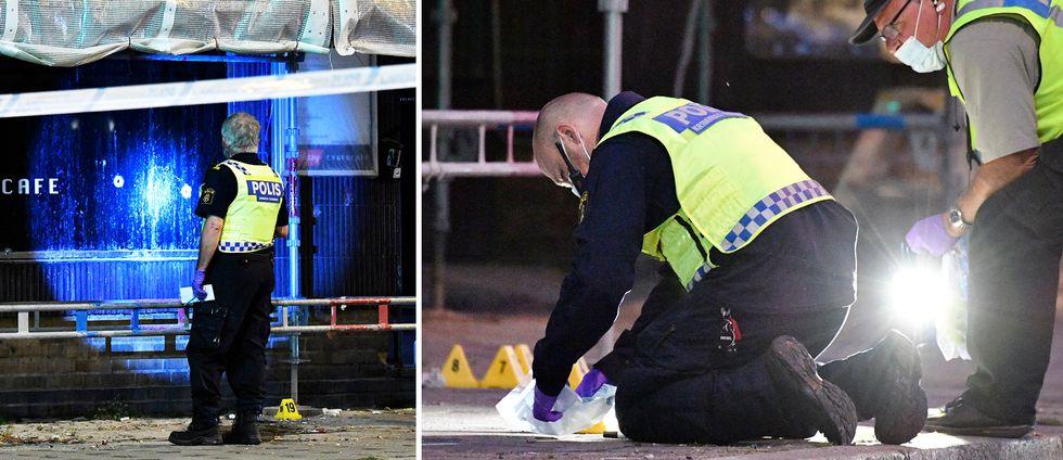 Polisens tekniker på plats vid det kafét i Malmö, där skottlossningen ägde rum på måndagskvällen.