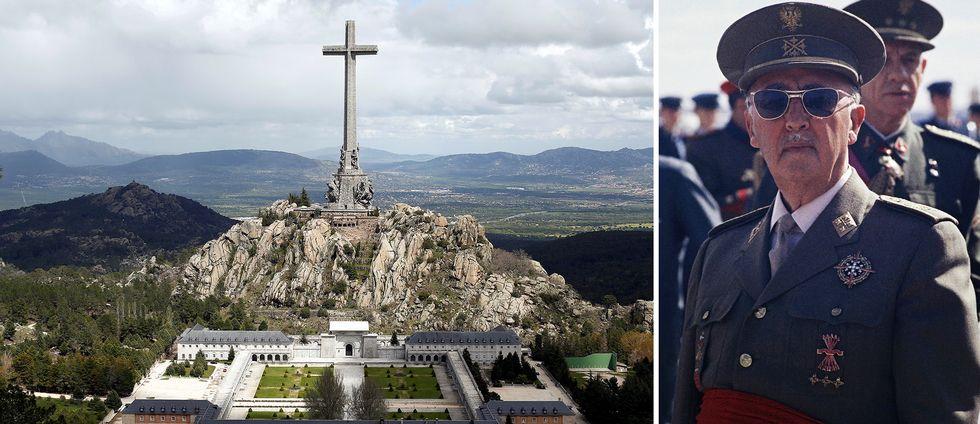 """Spaniens förre diktator General Francisco Franco (år 1966 till höger) dog 1975 och ligger begraven vid """"De stupades dal"""" utanför Madrid"""
