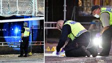 Polisens tekniker på plats vid det kaféet i Malmö, där skottlossningen ägde rum på måndagskvällen.