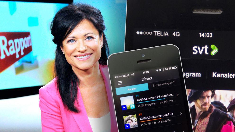 Lisbeth Åkerman i Rapportstudion samt SR Play och SVT Play