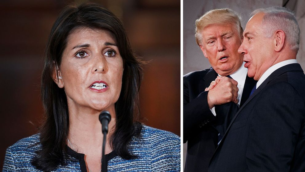 USA:s FN-ambassadör Nikki Haley gav beskedet att USA lämnar FN:s råd för mänskliga rättigheter, bland annat med hänvisning till den orättvisa hållning man anser att landet har gentemot Israel och dess ledare Benjamin Netanyahu (till höger bredvid Donald Trump)