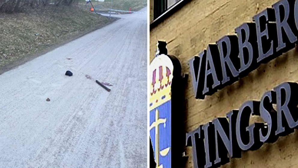 Bild på brottsplats med järnrör samt Varbergs tingsrätt.