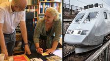 Man och kvinna vid skrivbord. Tåg