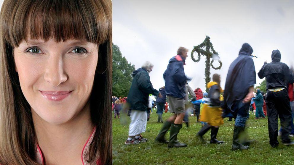 Meterologen Jannicke Geitskaret och en bild av människor i regnkappor som dansar runt en midsommarstång