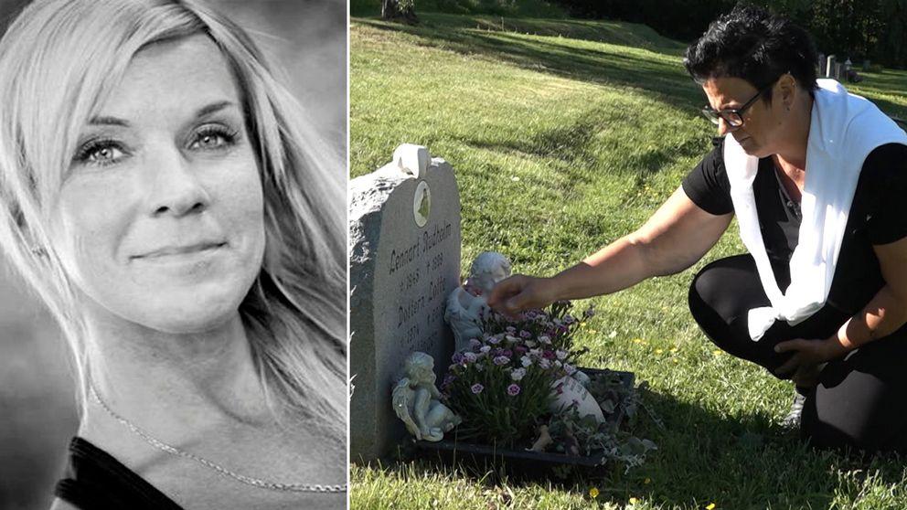 Camillas Rudholm lägger blommor vid Lottas grav.