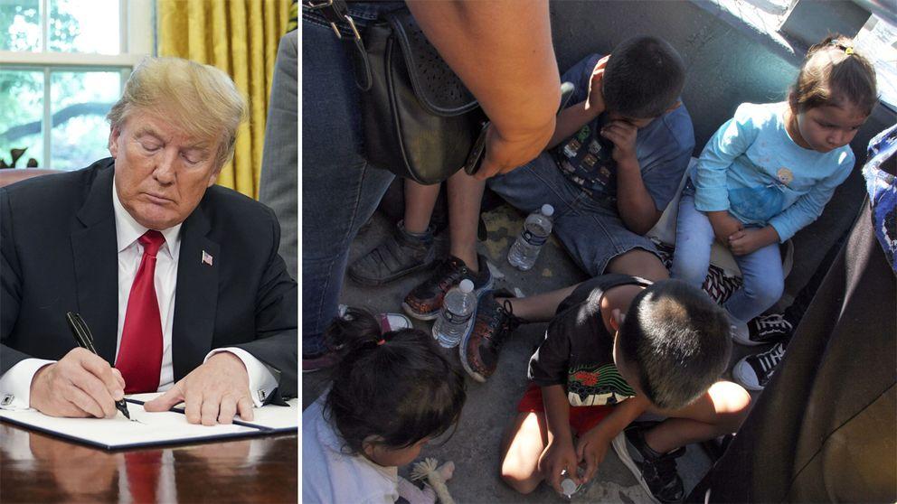 Donald Trump och barn vid gränsen till USA.