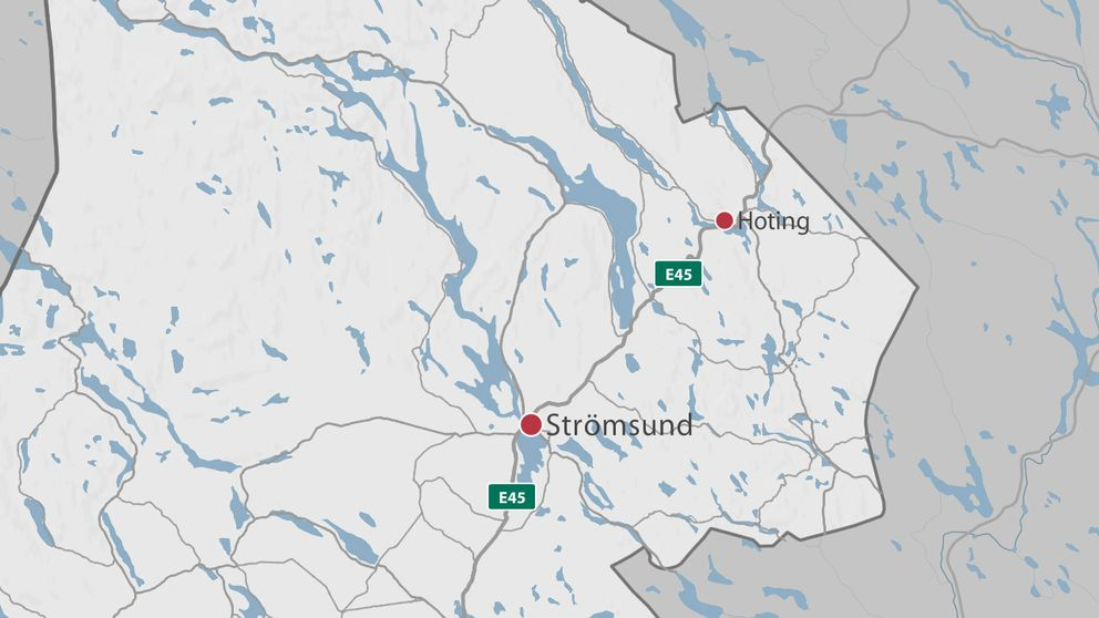 En karta över delar av Jämtland där Strämsund och Hoting är markerade.