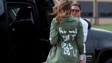Melania Trump med den kritiserade jackan.