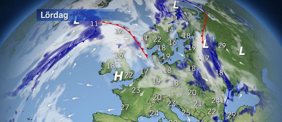 Ett högtryck på Atlanten börjar växa in över västra Europa och sakta, sakta masar det sig också norrut. Fortsatt ostadigt väder i nordligaste Skandinavien och vidare söderöver i Baltikum och östra Europa. Kring Medelhavet hittar vi det varmaste vädret med 30-35 grader på flera håll.