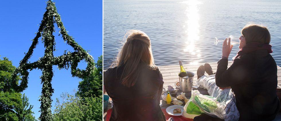 En majstång och två kvinnor som har picnick.