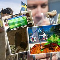 Bilder på traditionellt midsommarfirande, men även fotboll på TV.