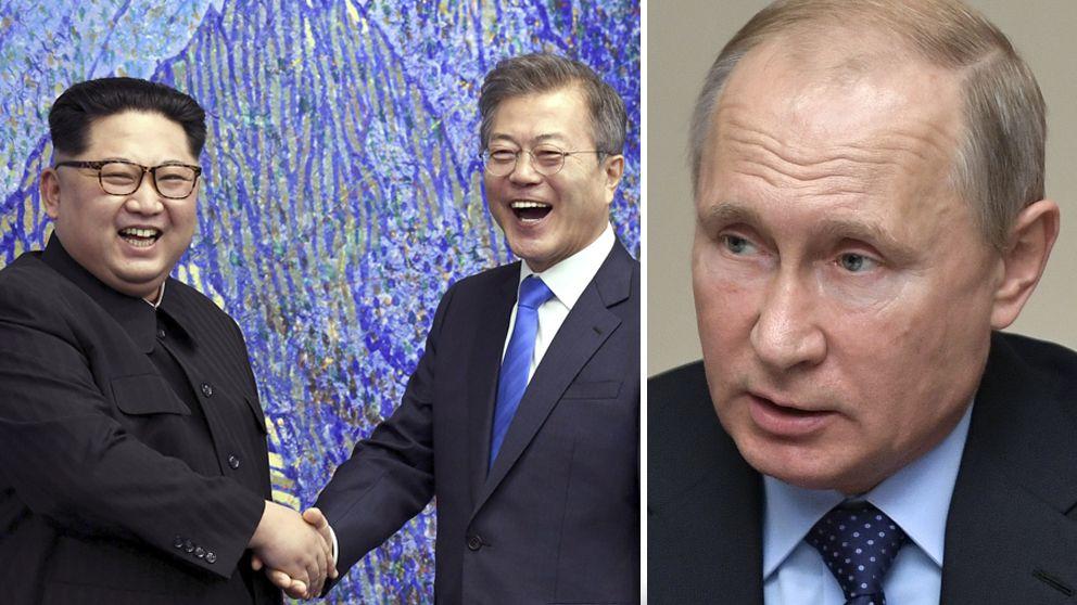 De koreanska ledarna som skakar hand. Och en bild på Putin.