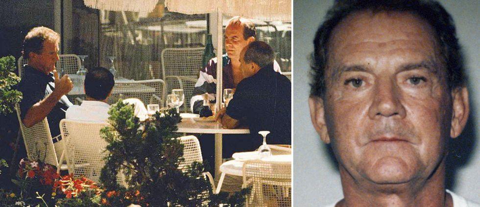 """Fyra män som sitter i en restaurant. En av dem är Francis """"Cadillac Frank"""" Salemme."""