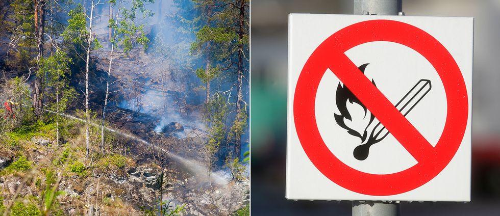 Skylt som varnar för brandrisk