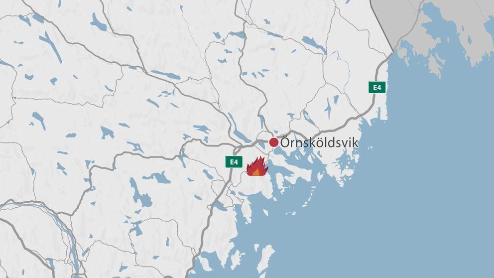 En karta över delar av Västernorrland där Örnsköldsvik är markerad samt en symbol för en eld.