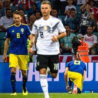 Sverige deppar efter Marco Reus kvittering till 1–1 i den 48:e minuten.