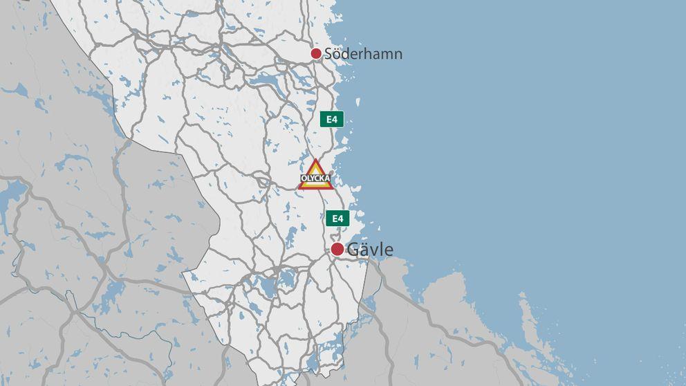 En karta över delar av Gävleborg där olycksplatsen är markerad med en symbol för olycka.