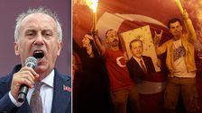 Till vänster Muharrem Ince under ett av sina sista framträdanden under valrörelsen. Till höger Recep Tayyip Erdogans anhängare som firar valresultatet.