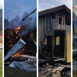 Fyra bilder på de fyra bränderna som drabbat Brovallen under tre somrar.