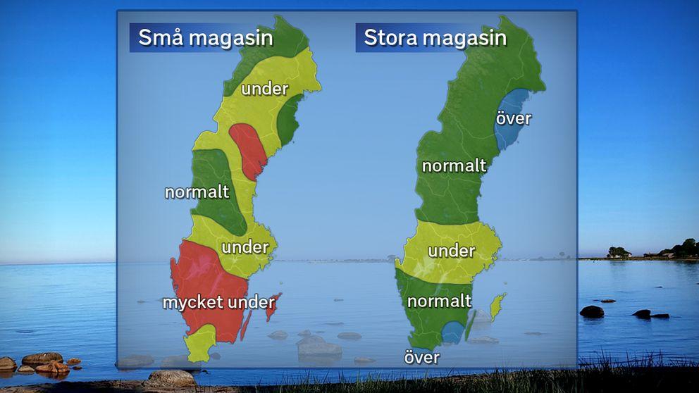 Grundvattennivåer i små och stora magasin under juni 2018 jämfört med det normala. Foto: SVT / Källa: SGU