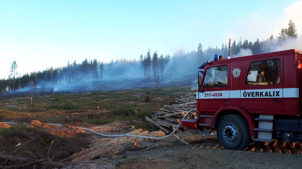 Brandområdet ligger mitt ute i ödemarken, vid Siskonberget norr om Överkalix